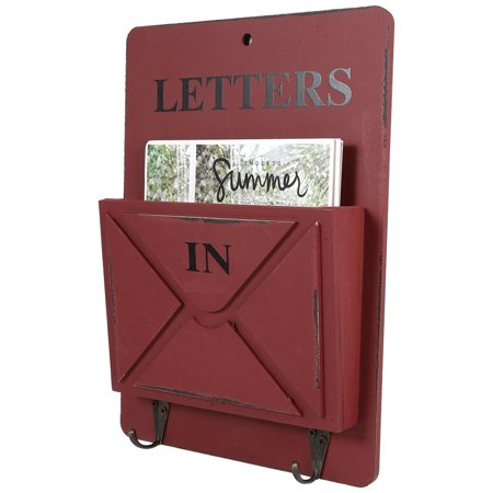 Ejoyous Wood Mail Box Letter Rack Key Holder Wall Storage Creative Home Decoration with Hook Hanger, Wall Letter Rack, Letter Holders