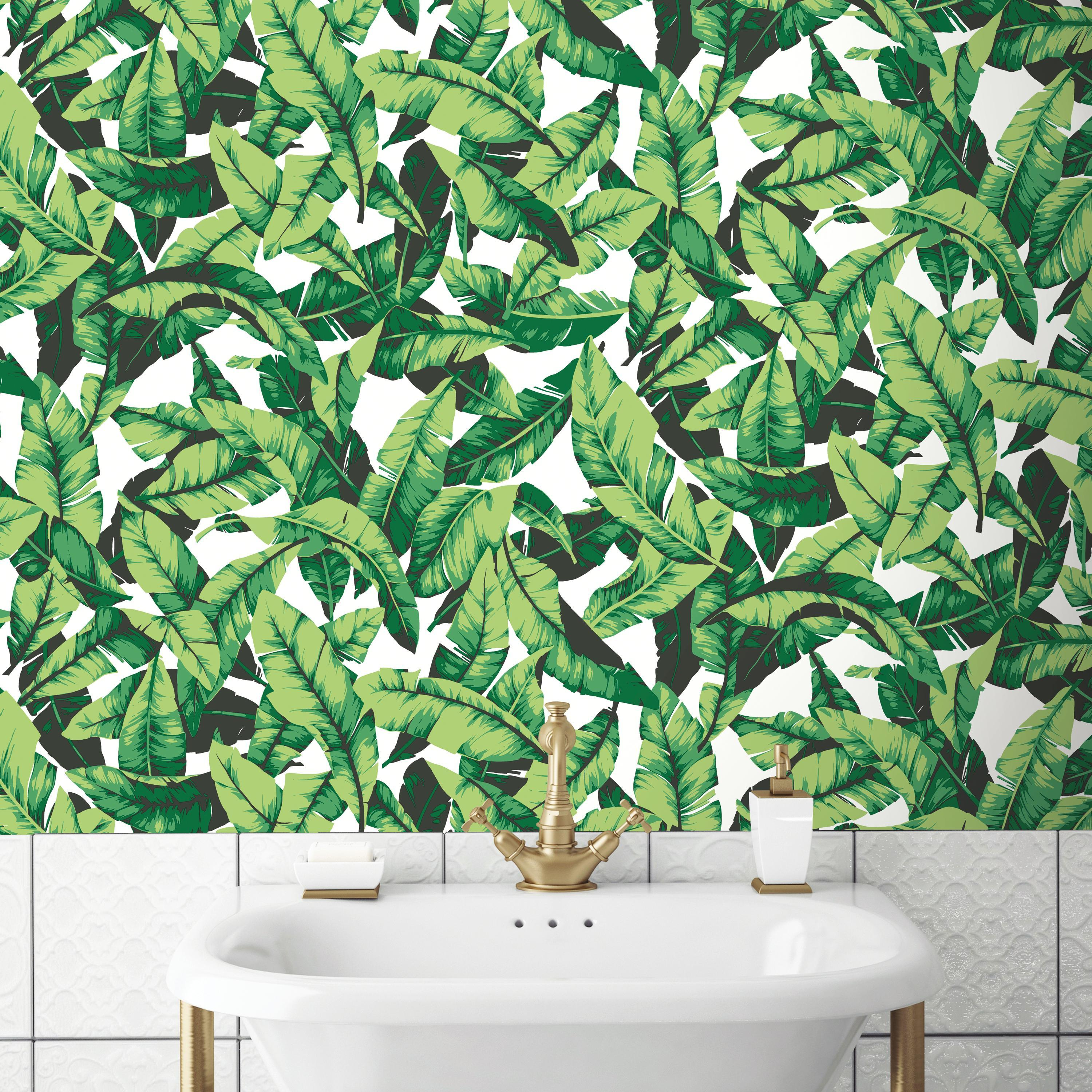 RoomMates Palm Leaf Peel & Stick Wallpaper