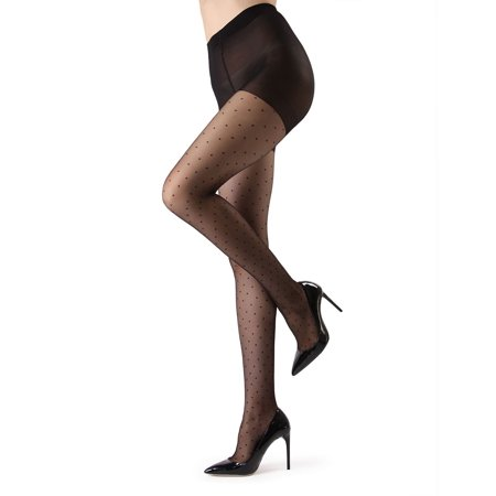 Petite Point Sheer Fashion Tights - Elegant Accent by S/M / ME-112 (Petite Tights)