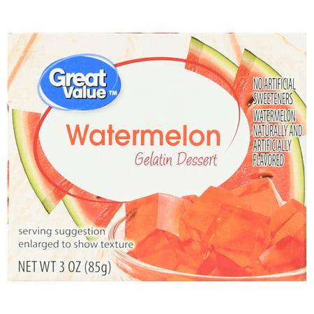 Great Value Gelatin Dessert Watermelon 3 Oz Walmartcom
