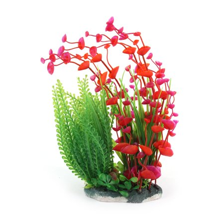 Artificial Plastic Water Plant Grass Decoration Green Red for Aquarium - image 2 of 3