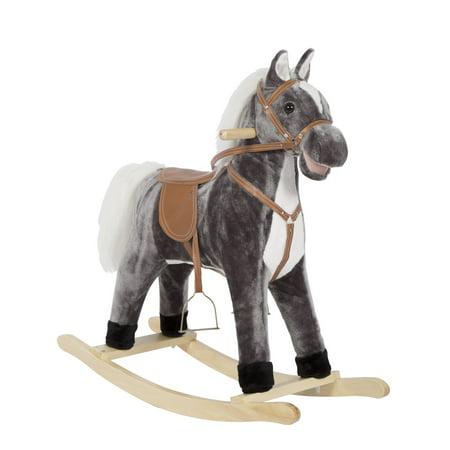 Kinbor Baby Kids Toy Plush Wooden Rocking Horse Boy Riding Rocker With Sound Dark Blue Grey