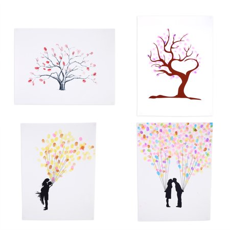 Yosoo 4 Types Fingerprint / Thumbprint Tree Canvas Personal Wedding Guest Signature With 6 Colors Ink, Wedding Tree Fingerprint,Fingerprint Tree](Wedding Guest Tree)