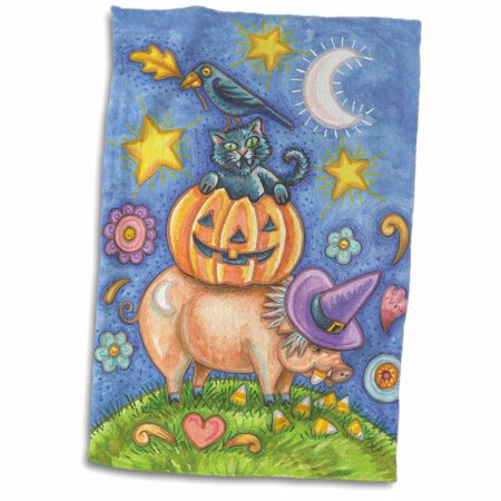 3dRose Cute Halloween Pig Eating Candy Corn With A Pumpkin, Cat, and Crow - Towel, 15 by 22-inch