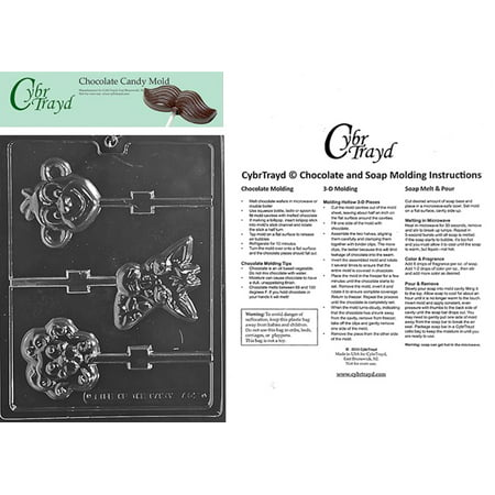 Lion Chocolate Mold (Animal Faces Lolly Monkey Lion Chocolate Candy Mold with Exclusive Copyrighted Cybrtrayd Molding Instructions)