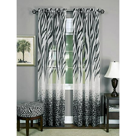 Savannah Collection Wild Safari Zebra and Leopard Print Set of 2 Sheer Panels in Black (50