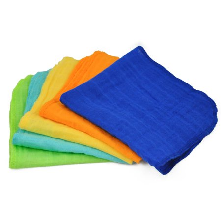 green sprouts Muslin Organic Cotton Baby Face Cloths Set of 5, Blue