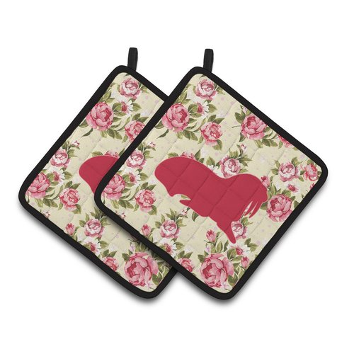 Caroline's Treasures Walrus Shabby Elegance Roses Potholder (Set of 2)