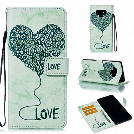 Galaxy Note 9 Case Cover, Allytech Marble Heart Design Flip Cover PU Leather Case Credit Card Holders Pocket Folio Phone Case for Samsung Galaxy Note 9 (2018) 6.4 Inch Phone, Green