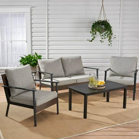 Wondrous Mainstays Owen Park 4 Piece Outdoor Patio Conversation Set Dailytribune Chair Design For Home Dailytribuneorg