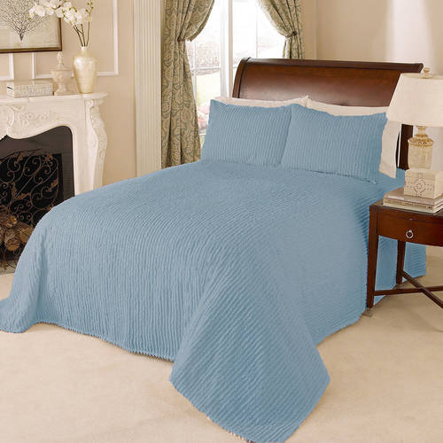 Channel Chenille Bedspread King Blue Walmart Com