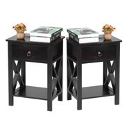 UBesGoo Wooden X-Design Side End Table Night Stand Storage Shelf with Bin Drawer Night Stand Sets of 2