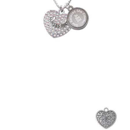 Silvertone Nurses Rock on AB Crystal Heart She Believed She Could So She Did Engraved Necklace