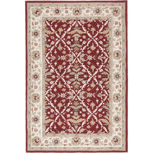 Charlton Home Driffield Hand-Hooked Red/Ivory Area Rug