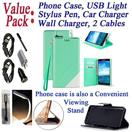 Value Pack Cables + for Samsung Galaxy J7 2017 SKY PRO / J7 PERX J7 V Case Phone Case Hybrid Fold Wallet Kick Stand Pouch Purse Screen Flip Cover Teal