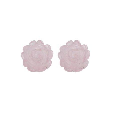 14k Yellow Gold Carved Rose Quartz Flower Earrings Framed Quartz Earrings