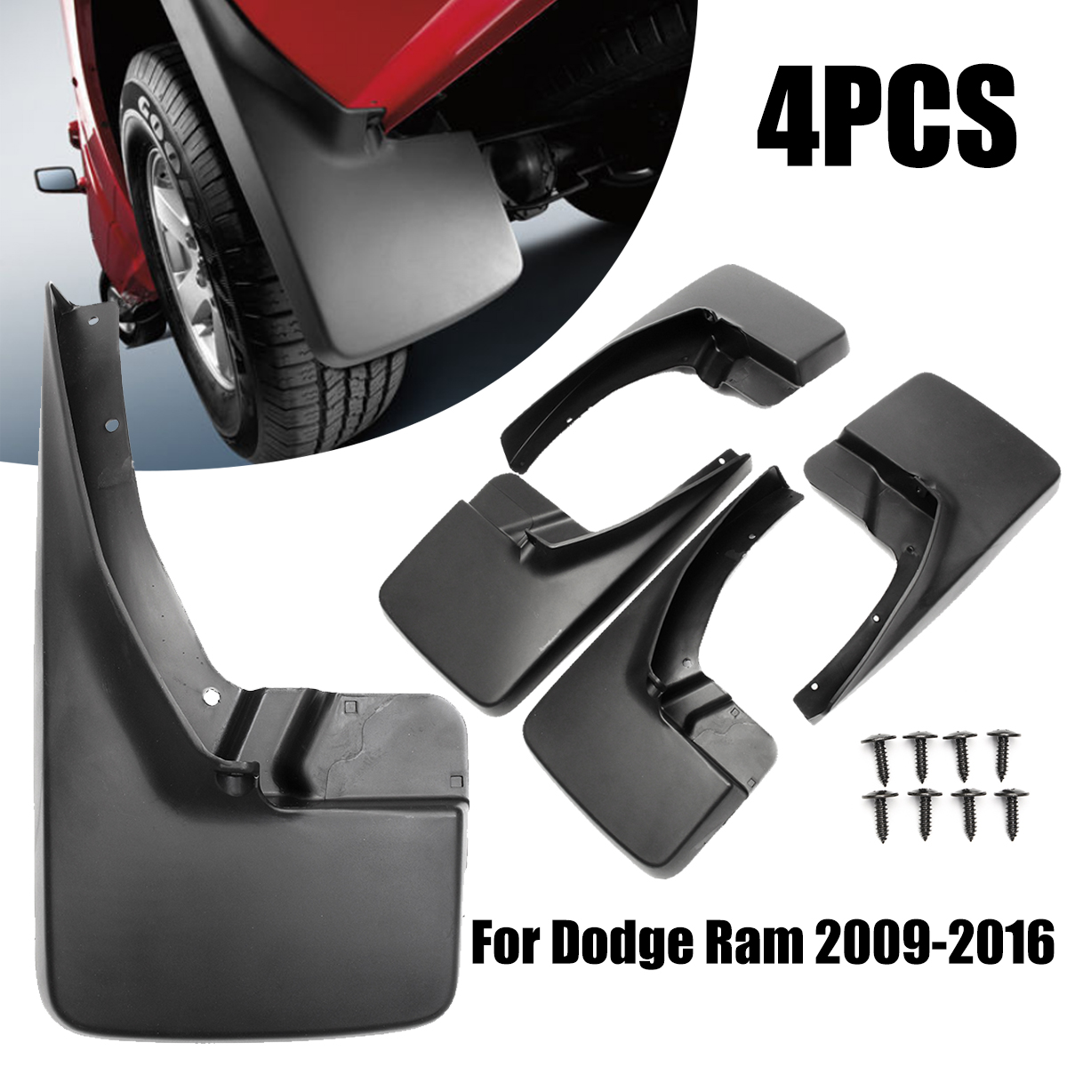 4Pcs Black Molded Splash Guards Mud Guard Flaps Front and Rear Protector Mudguards for Dodge Ram 1500 2009-2017