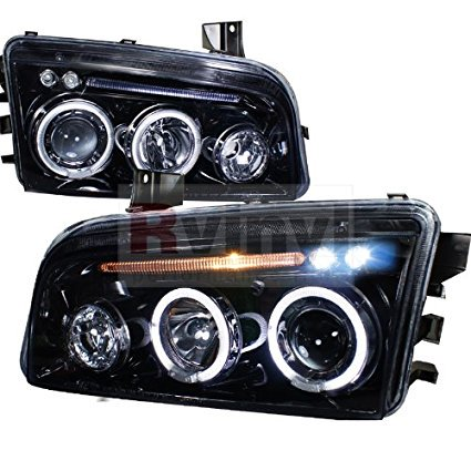 Dodge Charger 2005 2006 2007 2008 2009 2010 Projector Headlights - Black