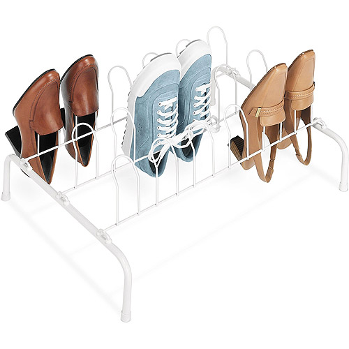 Whitmor 9-Pair Wire Shoe Rack, White