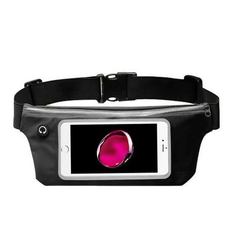 Valor Lightweight Sports Activity Fitness Running Jogging Waist Pack Pocket Belt Pouch Bag Case - Black (Size: 6.5
