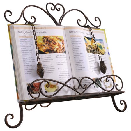 Contemporary Antique Scroll - Antique Metal Cookbook Stand ~ Book Holder ~ Easel w/ Weighted Chains
