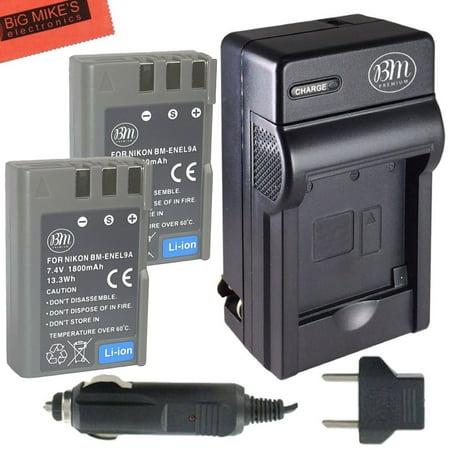 BM Premium 2 Pack of EN-EL9, EN-EL9A Batteries and Battery Charger for Nikon D5000, D3000, D60, D40x & D40 Digital SLR Camera ()
