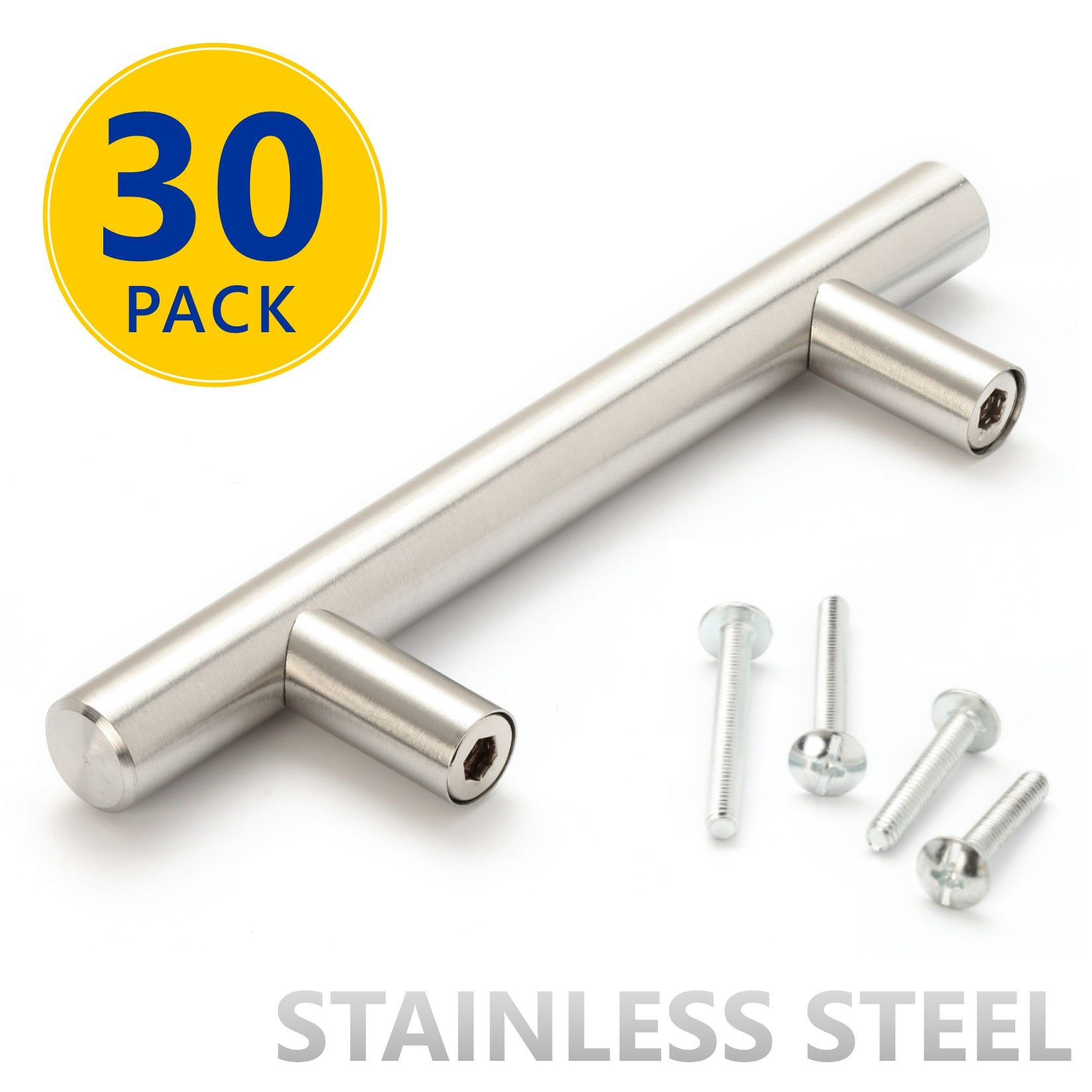 30 Pack 5 Stainless Steel T Bar Cabinet Pulls 3 Inch Hole Center 76mm Modern Euro Style Brushed Satin Nickel Finish Kitchen Cabinet Hardware Drawer Handles Walmart Com Walmart Com