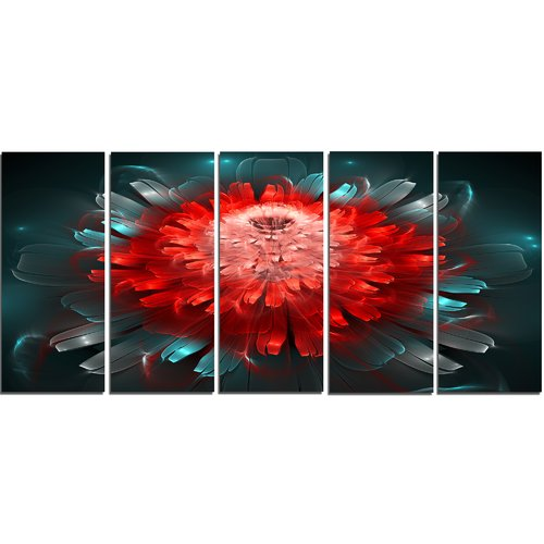 Design Art Fractal Red N Blue Flower 5 Piece Graphic Art on Wrapped Canvas Set