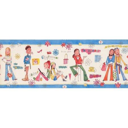 "Girls Rule Rock Alabaster White Blue Trim Teens Wallpaper Border for Bedroom Bathroom, Roll 15' x 9"" - image 1 de 3"