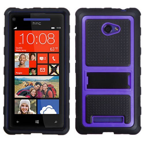 HTC 6990LVW Windows 8X MyBat Gummy Skin Cover, Transparent Smoke/Solid Black