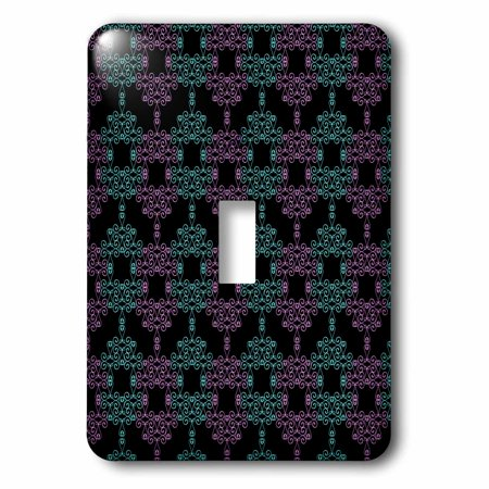 3dRose Pretty Teal and Purple Curly Shapes Pattern On Black, Double Toggle Switch
