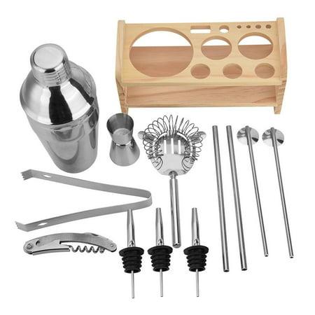 WALFRONT 13pcs en acier inoxydable Cocktail Shaker Mixer Buveur avec support en bois, barre d'outils pour boire, ensemble de shaker à cocktail en acier inoxydable, kit shaker à cocktail - image 6 de 7
