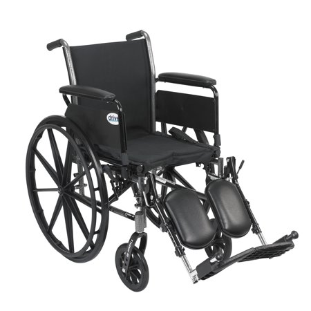 "Drive Medical Cruiser III Light Weight Wheelchair with Flip Back Removable Arms, Full Arms, Elevating Leg Rests, 18"" Seat"