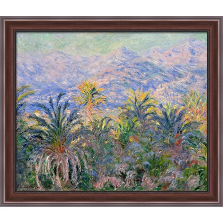 Palm Trees At Bordighera 34X28 Large Walnut Ornate Wood Framed Canvas Art By Claude Monet