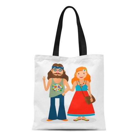 ASHLEIGH Canvas Tote Bag Dude Hippie Sixties Girl and Man of Flower Power Durable Reusable Shopping Shoulder Grocery Bag](Sixties Flower Power)