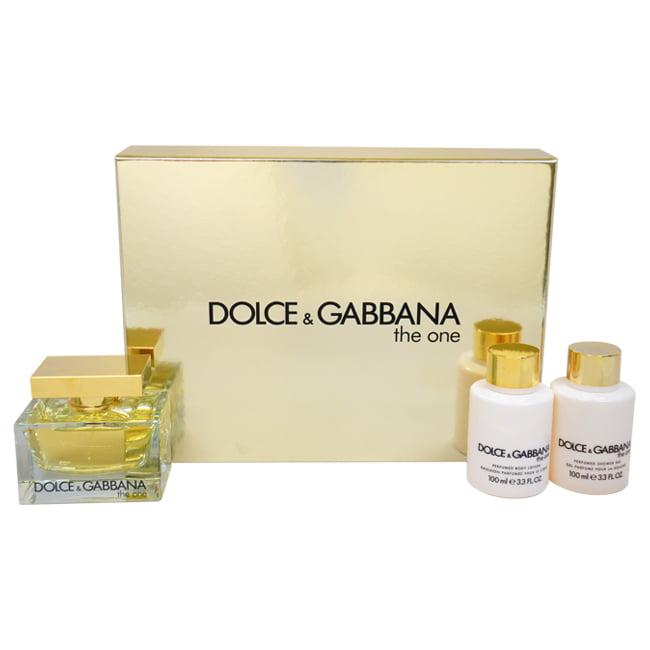 The One by Dolce & Gabbana for Women - 3 Pc Gift Set 2.5oz EDP Spray, 3.4oz Perfumed Body Lotion, 3.4oz Perfumed Shower Gel