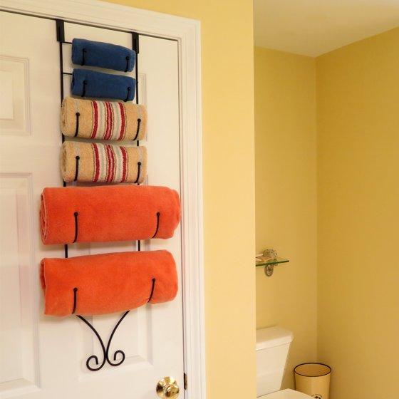 Average Height Of Towel Bar In Bathroom: Evelots® Over The Door Metal Towel Rack, 6 Holders