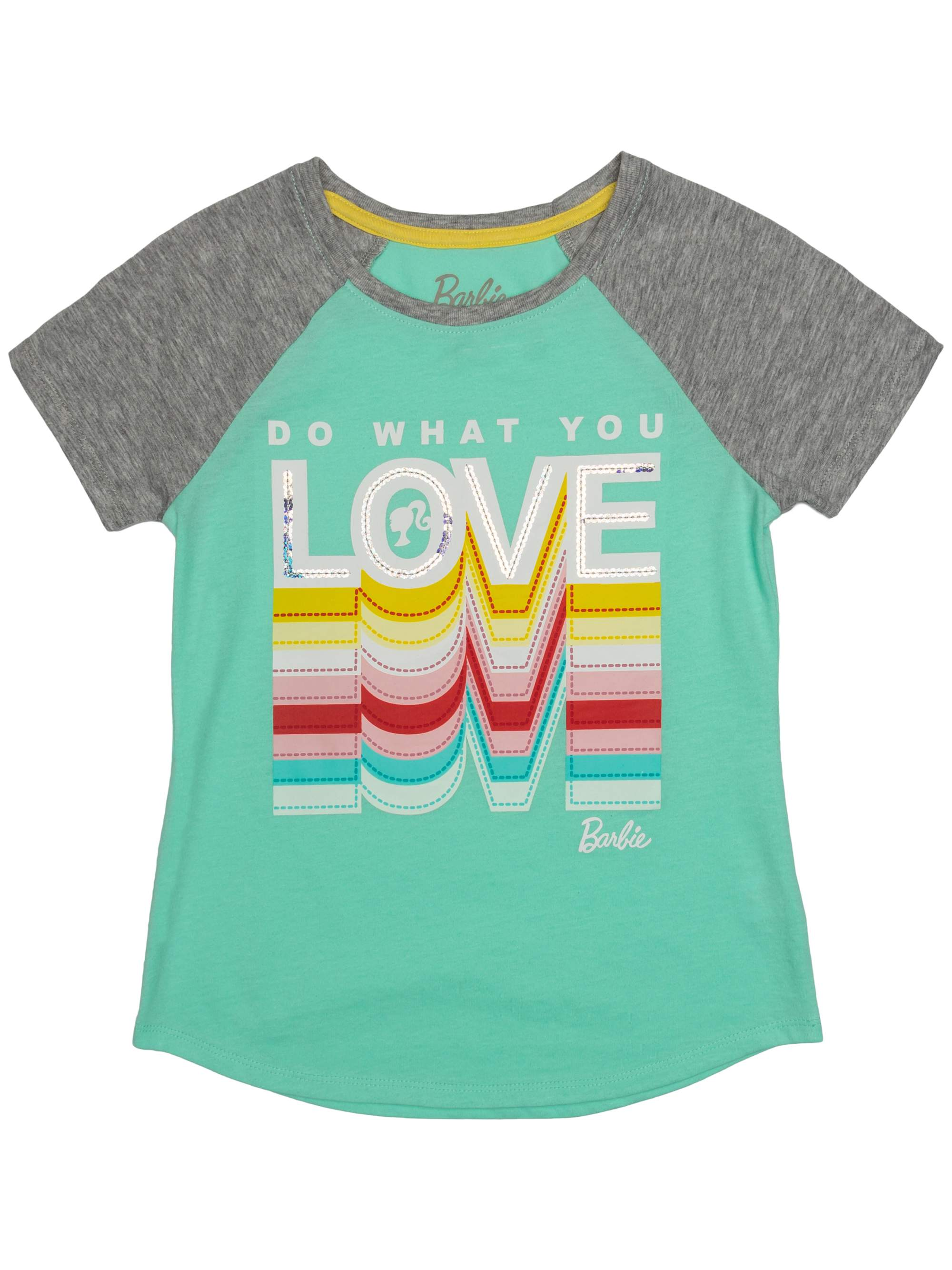 Love Embroidered Sequin Raglan Graphic Tee (Little Girls & Big Girls)