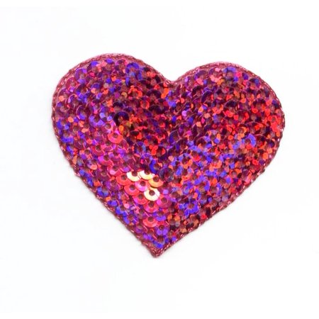Medium - Valentine Hot Pink Heart - Sequin - Iron on Embroidered Patch