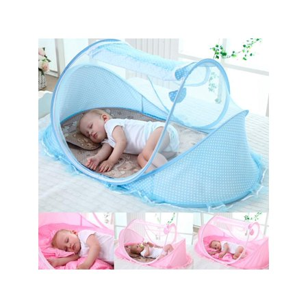 Arzil Baby Infant Portable Folding Travel Bed Crib Canopy Mosquito Net Tent Portable Baby Cots Crib Sleeper Bed with One Pillow