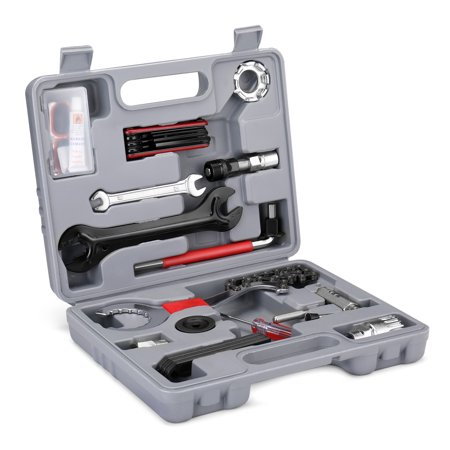 Bike Repair Tool Kit Set - Multi-function 25PCS Bicycle Maintenance Essential Accessories with Carrying Box Universal Home Mechanic with Spike Adjuster for MTB Mountain, Road, Folding