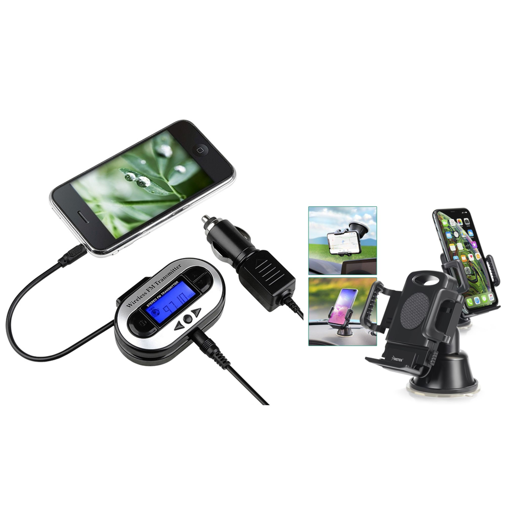 Insten For Galaxy S5 S4 S3 Note 2 3 iPhone 6 5 5S 5C 4 4S LED FM Transmitter Car Adapter (w/ Universal Car Phone Holder)