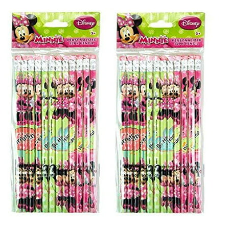 Minnie Mouse Pencils (Party Favors Disney Minnie Mouse 24pk Pencils in Poly Bag with Header- 2)