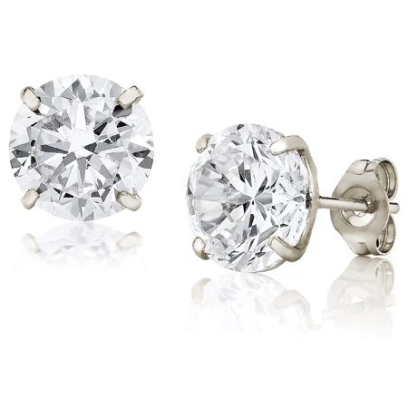 Jewelers 14K White Gold 8MM Round-Cut Stud Earrings made with Crystals Swarovski - 14k 8mm Mount