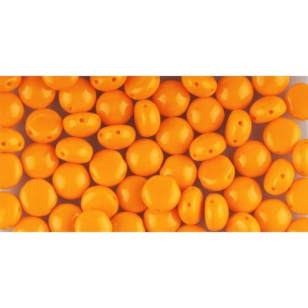 Orange Preciosa Czech Glass Candy, Loose Beads, 8mm 2-Hole Cabachon