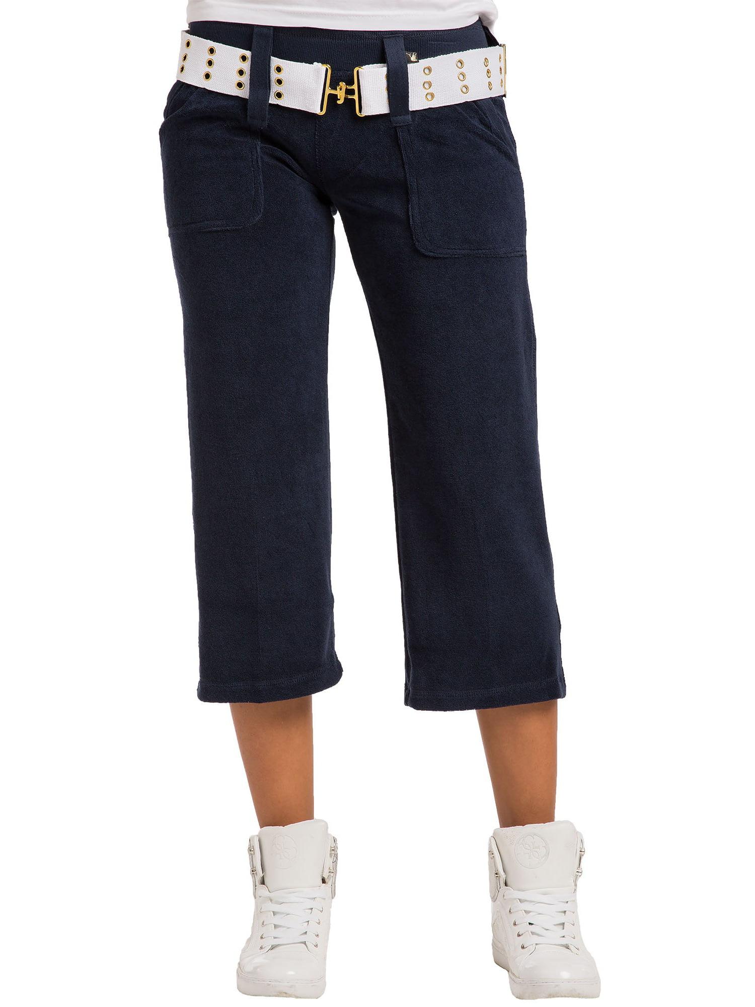 Sweet Vibes Junior Women Olive Terry Gaucho Pants With Grommet Belt