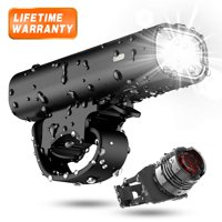 USB Rechargeable Bike Light Set, 1000 Lumen Super Bright Powerful Portable IPX5 Waterproof 360° Rotation Bicycle Headlight Free Tail Light Safety Cycling Camping 3 LED Flashlight Easy Install
