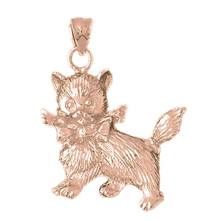 (14K Rose Gold Kitty Cat Pendant - 42 mm)