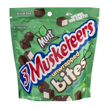 Image of 3 Musketeers Unwrapped Bites Mint With Dark Chocolate, 6.0 OZ