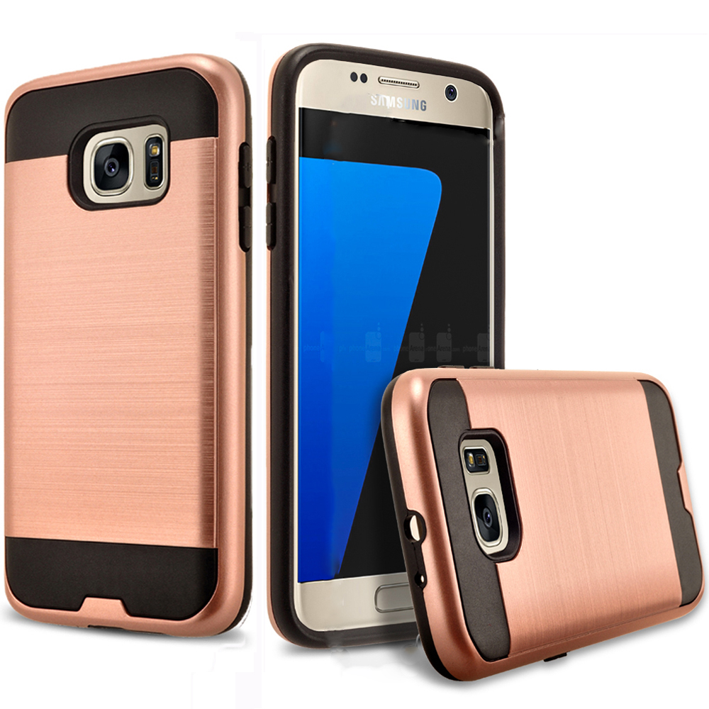 Galaxy S6 Edge Plus Case, 2-Piece Style Hybrid Shockproof Hard Case Cover Bundled With Circlemalls Stylus Pen (Rose Gold)